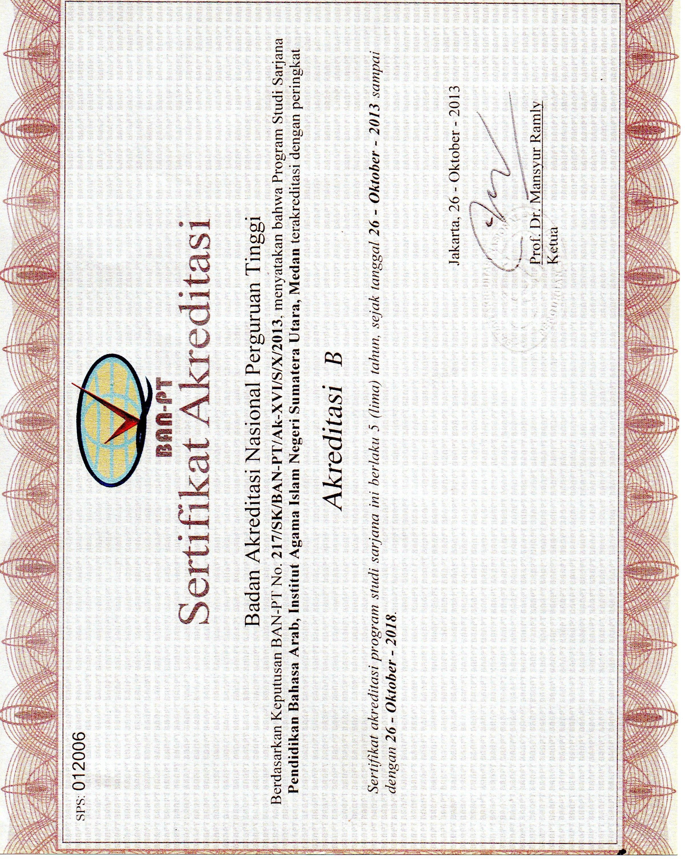 Sertifikat Akreditasi Prodi Jurusan Di Universitas Islam Negeri