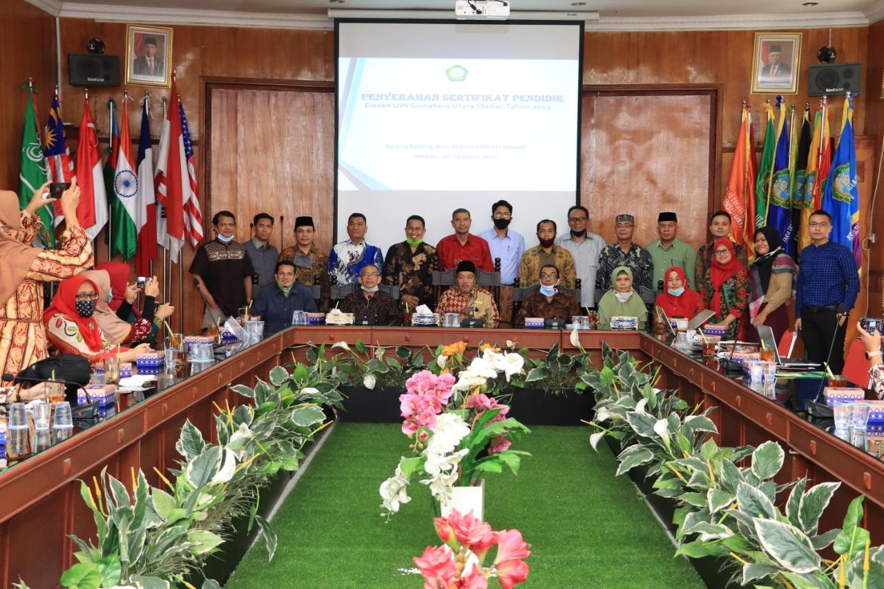 Penyerahan Sertifikat Pendidik Dosen UIN SU Medan Tahun 2019